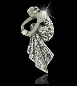 Zilveren Broche/hanger/parel